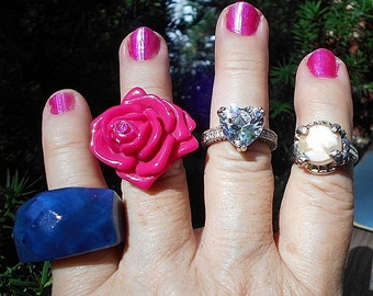 1 Ring, Vintage Lucite LARGE ROSE, Size 6 1/2, Bright Fun Playful Fabulous Ring.  You Can't Miss it!