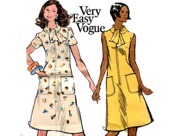 1970s Very Easy Vogue Dress Pattern Tie Collar Zip Front A Line Sleeveless Short Sleeve Dress Vogue 8561 Bust 39 Vintage Sewing Pattern