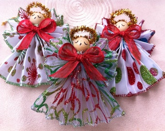 Set of 3 Angel Ornaments, Red & Green, Handmade
