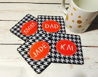 Custom coaster set of 4, chevron patterns, personalized coordinating coasters, housewarming gift, houndstooth pattern, housewares, kitchen