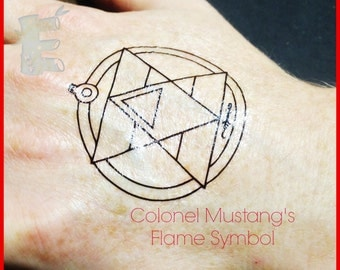 FMA Colonel Mustang's Flame Temporary Tattoo Full Metal Alchemist Cosplay x2