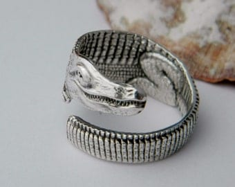 Alligator Sterling Spoon Ring, Silverware Jewelry,  Unique Wrapped Style Ring