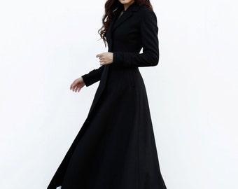 Black Elegant Coat Lapel Collar Women Wool Winter Slim Coat Long Jacket - NC485