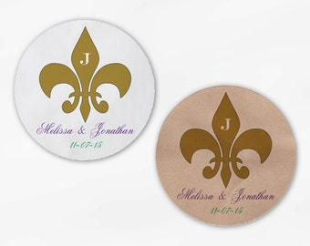Fleur de Lis Wedding Favor Stickers in Gold Purple Green - Custom Candy Buffet White Or Kraft Round Labels for Bag Seals, Envelopes (2020)
