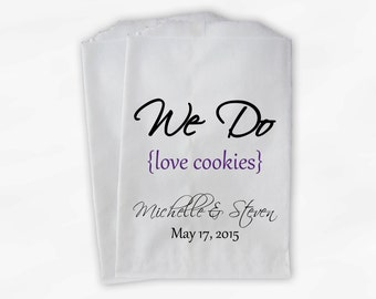 We Do Love Cookies Buffet Bags - Custom Favor Bags for Wedding, Birthday, Shower - Purple Paper Treat Bags (0063)