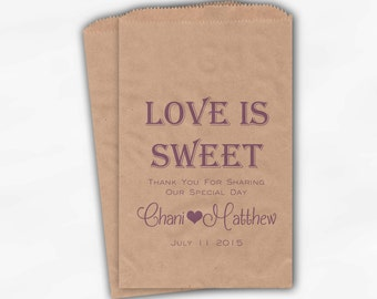 Love Is Sweet Wedding Candy Buffet Treat Bags - Mr and Mrs Personalized Favor Bags in Lavender - Kraft Brown Custom Paper Bags (0069)