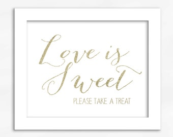 Candy Buffet Print in Light Gold Foil Look - Faux Metallic Calligraphy Wedding Reception Sign for Favors or Dessert Table (4002)