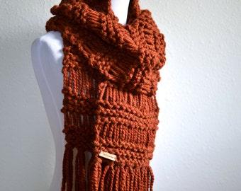 Chunky Knit Scarf // Boho Chunky Scarf With Fringe // Chunky Drop Stitch Scarf With Fringe // Knit Scarf // Boho Fringe Scarf // Scarf