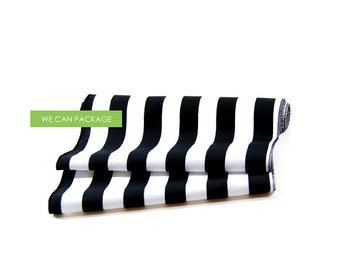 """Black and White Cotton Table Runner - 12"""" x 96"""""""