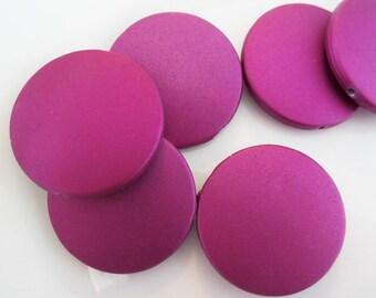 30mm, 6CT, Purple Round Flat Acrylic Rubberized Beads, Chunky Beads, Large Flat Beads, F22