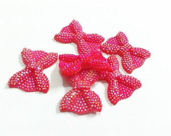 21mm*28mm, Red Rhinestone Bow Beads, 10CT, Middle Vertical Hole h68
