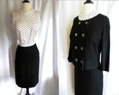 Vintage 1950s Dress - Black Linen and Calico Blouse Skirt and Jacket by Personal - Medium