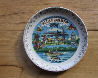 Wisconsin State Souvenir Plate