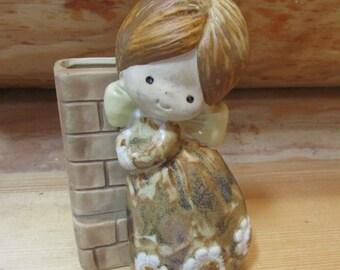Vintage Little Girl Planter or Pen Holder Made in Japan