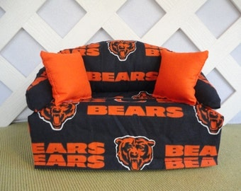 Chicago Bears Tissue Box Cover in Sofa Shape Navy Blue and Orange / Chicago Bears Decor & Seattle Seahawks Tissue Box Cover in Sofa Shape Blue Green Aboutintivar.Com