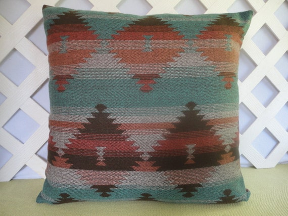 Aztec Pillow Cover In Teal Rust Brown / By JRsPillowsandBags
