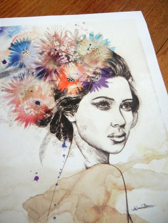 "35 x 27cm Canvas Print - ""effloresce"" - Modern Abstract Organic Botanical Portrait Drawing Digital Spiritual Art Print Illustration"