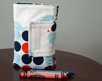 Crayon Organizer - Whales- Dots - Red - Blue - Crayon Holder - Crayon Roll - Back to School - Boy Gift Under 20
