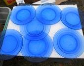 "7 great shape clean vintage COBALT glass hazel ATLAS MODERNTONE 9 "" dinner plate"