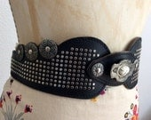 Black Folk Belt Leather with Metal rivets round ornamet fake stone ornament Pirate Elf Viking Cersei / Size M