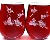 Engraved Stemless Wine Glasses - Hummingbirds - Personalization Offered on Reverse
