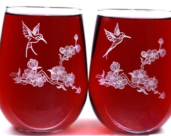 Engraved Stemless Wine Glasses - Hummingbirds - Personalization Offered on Reverse - Valentine Gift for Her