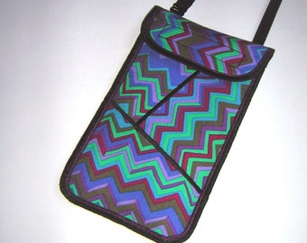 iPhone 6 Plus Case Neck / Crossbody purse Cellphone Cover smartphone pocket Small Sling Bag chevron mixed fabrics in blue green mallow