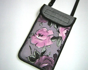 iPhone 6 Plus cover Smartphone Pocket neck case Crossbody Purse cell phone bag iPod Cover Hipster Wallet  fabric bag gray pink purple floral