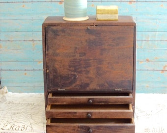 Vintage File Cabinet, Drawer, Organizer or Rustic Tool Craft Box Scrapbook Paper Chest
