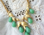 Vintage Choker Necklace ~ Gorgeous ~ Faux Jade Glass Drops ~ Gold tone Metal ~ With Rhinestone Accents