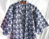 Kimono ~ Unisex ~ Japanese ~ Blue and White ~ Asian ~ Cotton Robe ~ Authentic Vintage