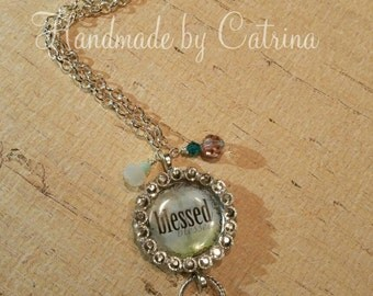 """Crystal """"Blessed"""" Necklace Pendant"""