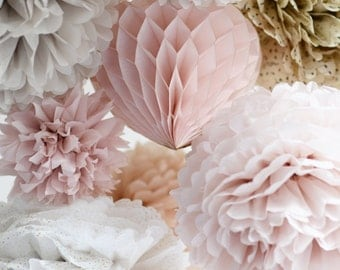 Dusty blush.. 16 mixed size Tissue paper  POM POMS and HONEYCOMB  heart set -   Wedding  Party Bridal Shower Birthday Nursery Decorations