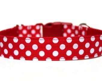 """Red Polka Dot Dog Collar 1"""" Red Dog Collar"""