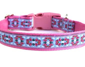 "Summer Dog Collar 1"" Flamingo Dog Collar SIZE SMALL"