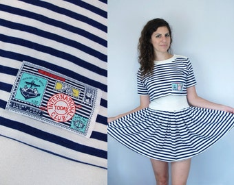 1980s Vintage Blue & White Striped Nautical Short Sleeve Mini Faux 2-Piece Dress / Faux Full Skirt Crop Top Belly Shirt / Small S Medium M 6