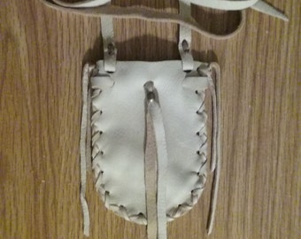 Traditional Medicine Bag -Medicine Pouch - Neck Bag - Neck Pouch - Crystal Bag - Elusive Wolf - Handmade in the USA