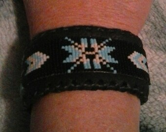 Beaded Cuff Bracelet on Black Leather - Tribal Cuff - Handmade in the USA - Native American - Elusive Wolf