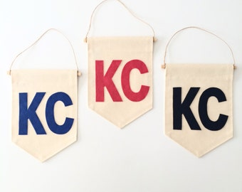 SALE - KC Banner - City or State Abbreviation Canvas Banner - 8 x 11.5 inch - Wall hanging