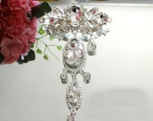 2pcs 13.5x8cm wide crystal Rhinestones bridal wedding dress pedant brooch appliques patches zxw3 free ship