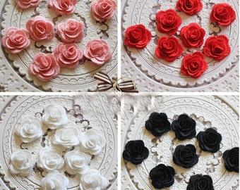 "25pcs 2.6cm 1.96"" wide black/ivory/red/pink rose  embroidered lace appliques patches vtyd free ship"
