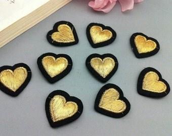 30pcs 2x7cm wide gold heart appliques patches pocket clothes fewf free ship