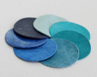 Large Leather Circles, Cyan Colors, Blue Shades , Teal Suede, Genuine Leather