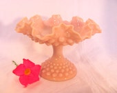 Fenton Pink Milk Glass Hobnail Compote Candy Dish with Ruffled Edge, Footed Compote by Fenton Art Glass Rare Pink Color 1950's