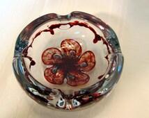 Amethyst & Clear Murano Ashtray / Murano Art Glass Ashtray