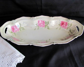 RS Prussia Celery Dish Hand Painted Roses Red Label