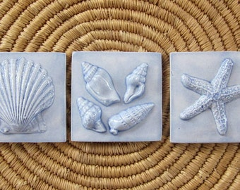 3x3 Ceramic SeaShore tiles -- Set of 3 in Country Blue glaze, starfish, scallop shell, beach, ocean, IN STOCK