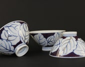 Vintage Japanese Rice Bowls, Hand Painted Rice Bowls
