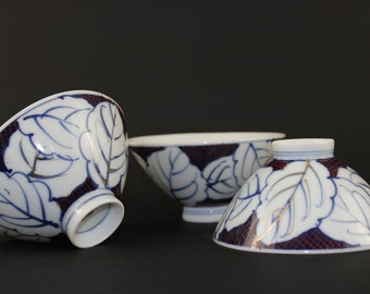 Japanese Rice Bowls, Hand Painted Rice Bowls