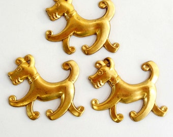 Vintage Brass Dog Stamping, Fido Dog Stampings, Scotty Dogs, Dog Jewelry, Vintage Jewellery Supplies, Raw Brass, B'sue, 42 x 54mm, Item08115